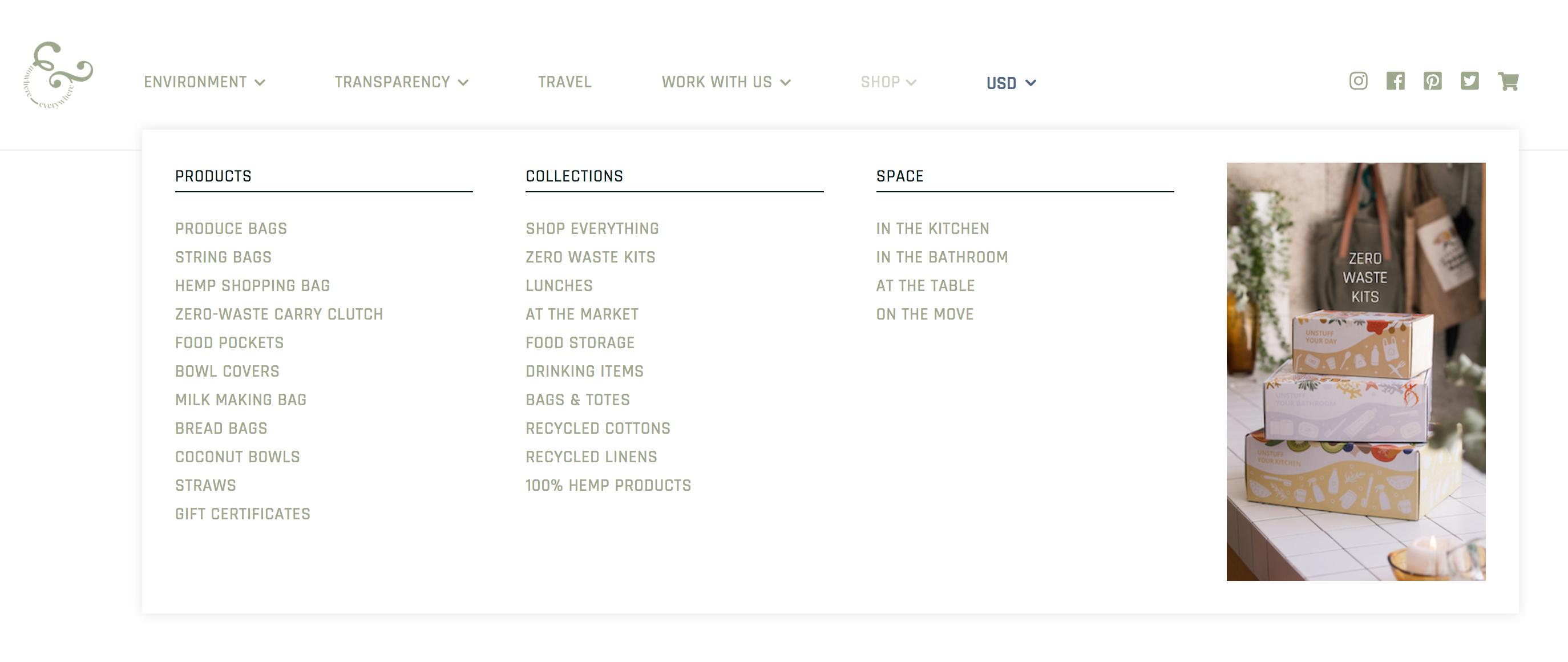 Nowhere & Everywhere Identity Division Website Ecommerce Design & Developing Blog Design Product Development Shop Mega Menu Design