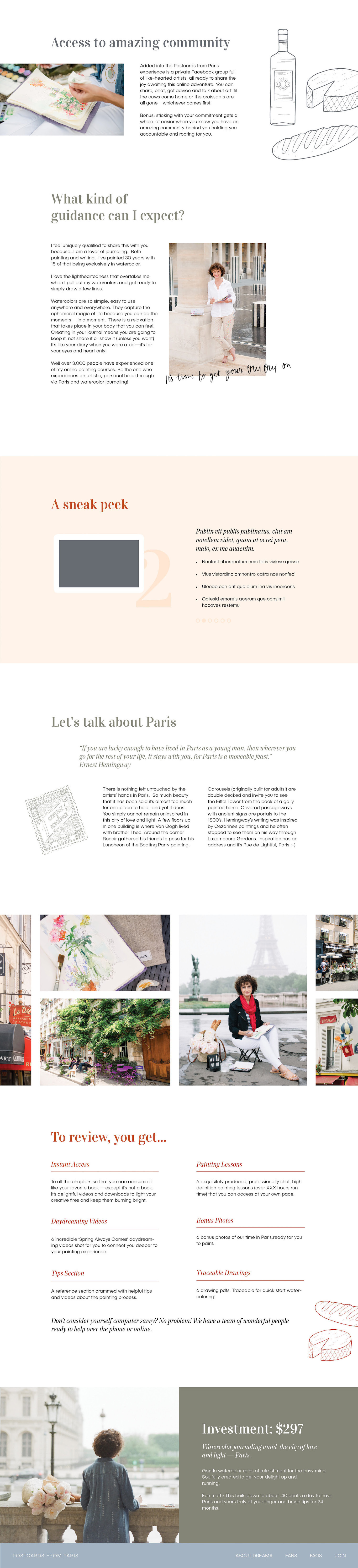 Postcards from Paris Online Course Painting Design Watercolors UX/UI Learning System Training Dreama Tolle Perry Identity Division Lis Lisande Dingjan Brisbane Netherlands UK London Experience Design Studio Custom Hand Lettering French Type
