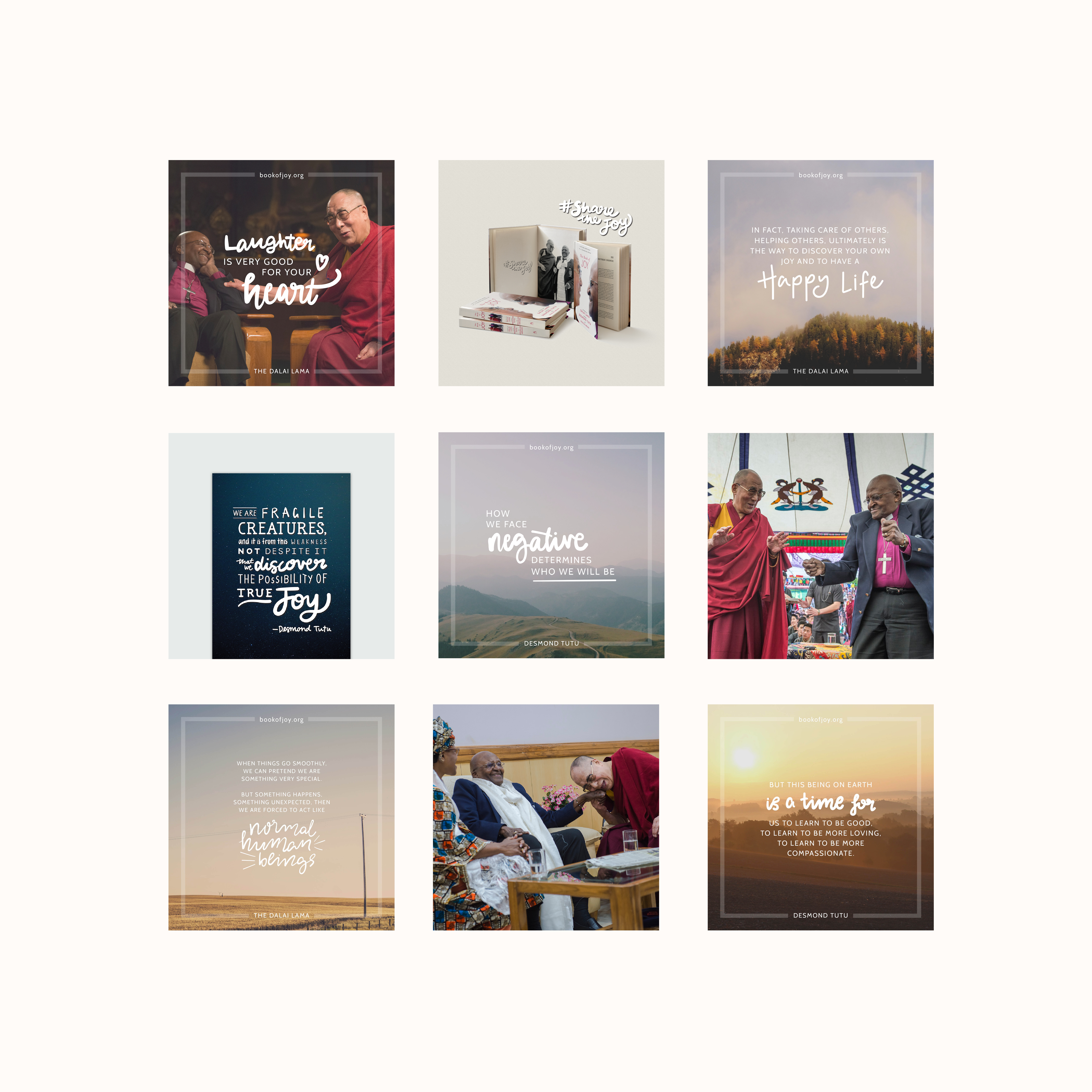 Book of Joy Dalai Lama Desmond Tutu - Identity Division - Social Media Design Instagram Layout Content Strategy Creation
