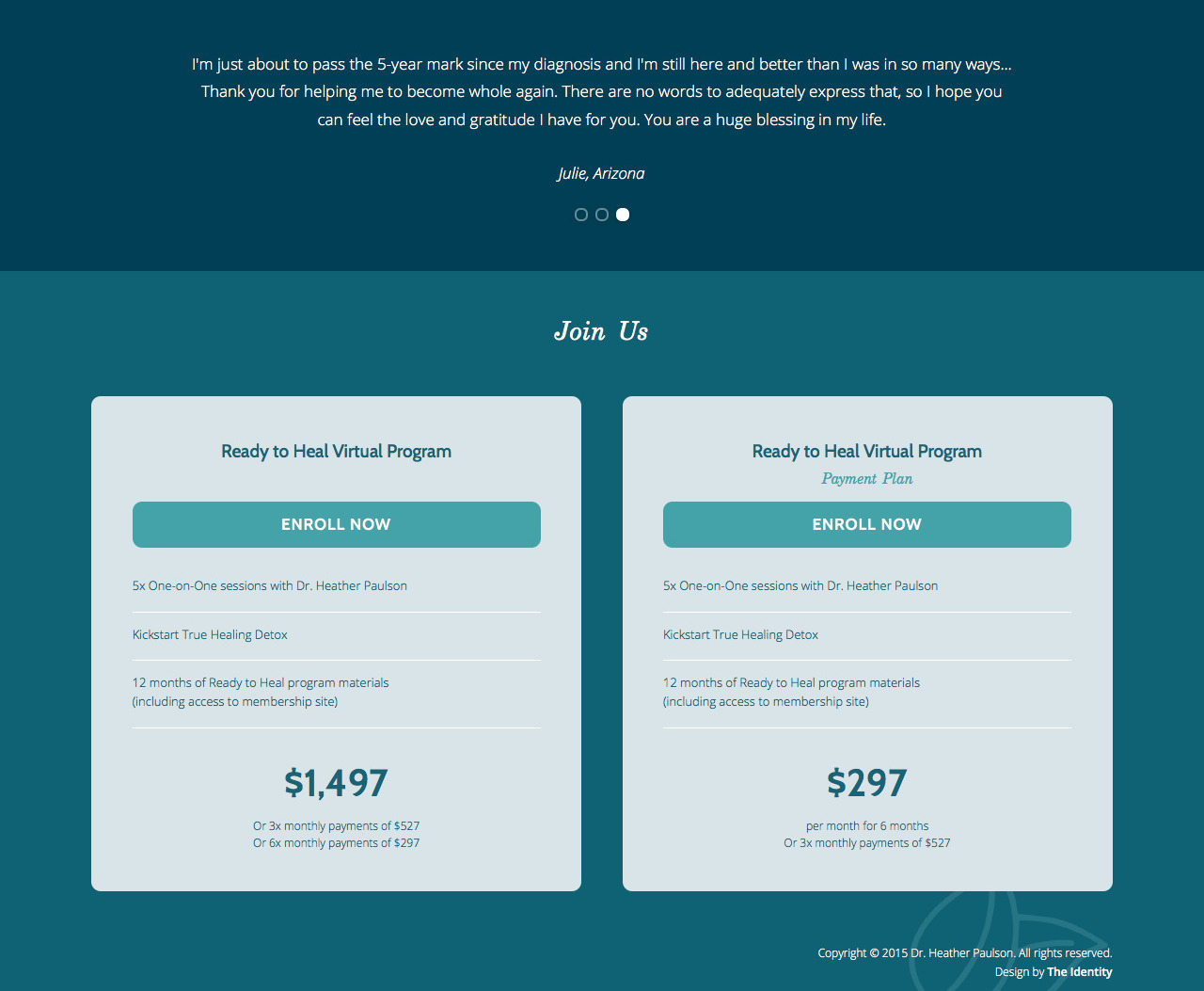 Nutritional Therapy Sales Page Design Health - Identity Division Studio